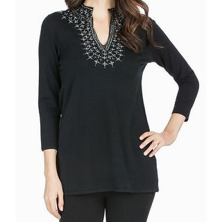 Joan Vass NEW Black Women's Medium M Split-Neck Knit Embellished Tunic