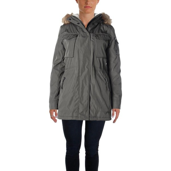 Aqua Womens Field Coat Sherpa Lined Faux Fur-Trim