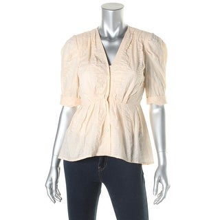 Nanette Lepore Womens Pleated Cuff Sleeves Button-Down Top - 2