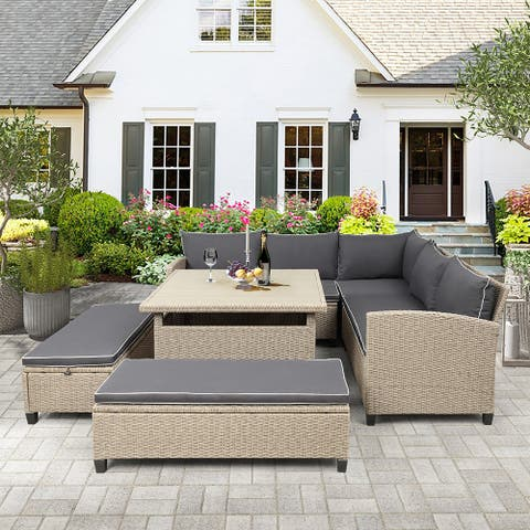 SuperBrite 6-Piece Patio Furniture Set Outdoor Wicker Rattan Sectional Sofa with Table and Benches for Backyard, Garden