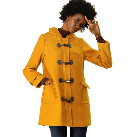Women' Casual Hoodie Toggle Button Long Relaxed Dual Pocket Basic Coat