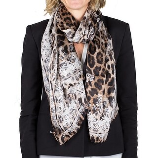 Roberto Cavalli Women's Lace Floral Animal Print Silk Scarf Large