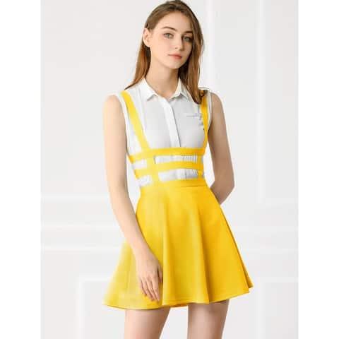 Women's Pleated A-Line Elastic Waist Kawaii Brace Mini Suspender Skirt