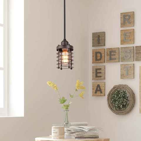 """The Gray Barn Heavenly Winds Mini Cage Pendant Rustic Circle Ceiling Lighting for Kitchen Island - L3.9"""" X W3.9"""" X H5.5"""""""
