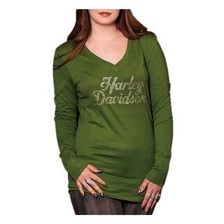Harley-Davidson Women's Pristine Embellished Long Sleeve V-Neck Shirt, Green