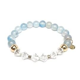 Aquamarine 'Chloe' Stretch Bracelet, Swarovski Crystal 14k over Sterling Silver