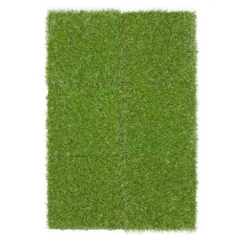 "Ottomanson Evergreen Artificial Turf Interlocking Grass Tiles - 12"" x 12"""