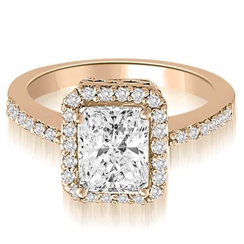 0.75 cttw. 14K Rose Gold Halo Emerald And Round Diamond Engagement Ring