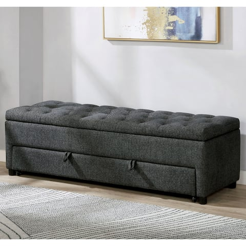 Furniture of America Crouse Transitional Tufted Storage Bench
