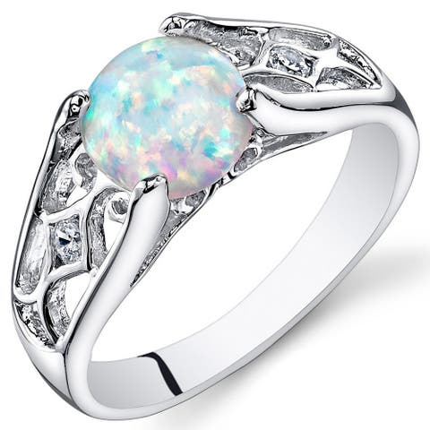 Created Opal Ring in Sterling Silver 1.25 Carats