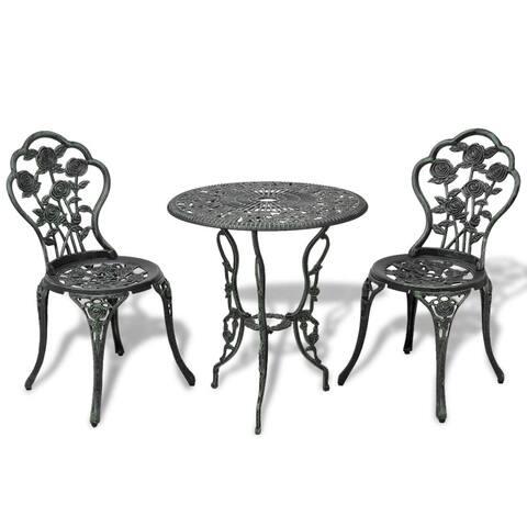 Outdoor Patio Furniture 3pcs Cast Aluminum Bistro Set Antique Rose Design