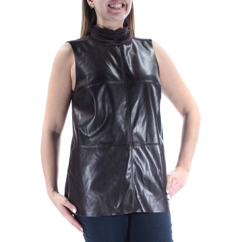 Womens Brown Sleeveless Turtle Neck Casual Top Size L