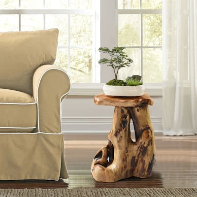 Greenage Cedar Roots Natural Flower Stand Reclaimed Woods End Table