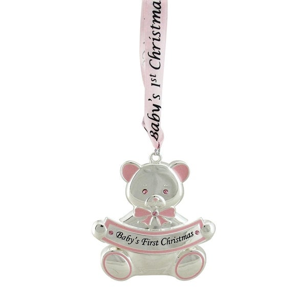 "3"" Pink Teddy Bear ""Baby's First Christmas"" Silver Plated Christmas Ornament"