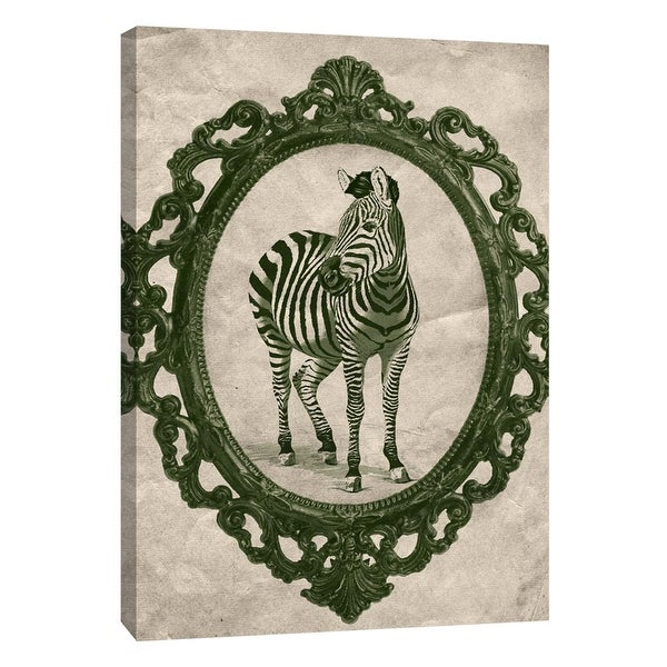 "PTM Images 9-105917 PTM Canvas Collection 10"" x 8"" - ""Framed Zebra in Evergreen"" Giclee Zebras Art Print on Canvas"