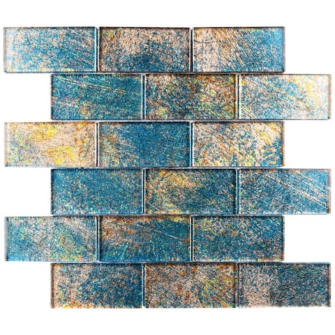 "TileGen. Galaxy 2"" x 4"" Glass Mosaic Tile in Gold Blue Wall Tile (10 sheets/9.6sqft.)"