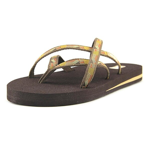 Teva Olowahu Women Open Toe Synthetic Brown Flip Flop Sandal