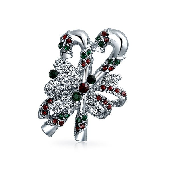a5542446b5 Bling Jewelry Crystal Holiday Candy Cane Brooch Pin Rhodium Plated