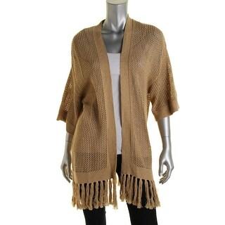 Ralph Lauren Womens Cotton Fringe Cardigan Sweater