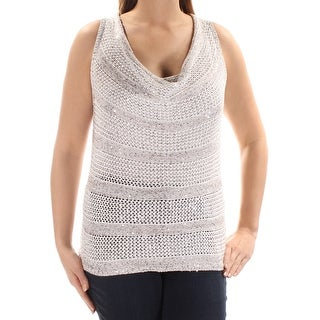 Womens Silver Sleeveless Scoop Neck Casual Sweater Size L