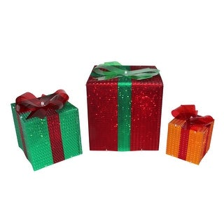 Link to Set of 3 Lighted Glistening Gift Box and Bow Outdoor Christmas Decoration Similar Items in Christmas Decorations