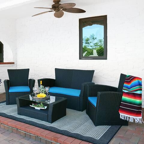 Sunnydaze Brisbane 4-Piece Outdoor Rattan Patio Furniture Set - Blue Cushions