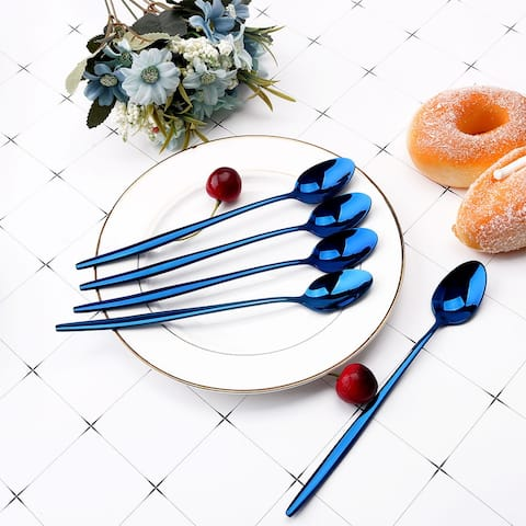 5pcs 8.1'' Length Ice Cream Spoon Stainless Steel Handle for Kitchen Blue