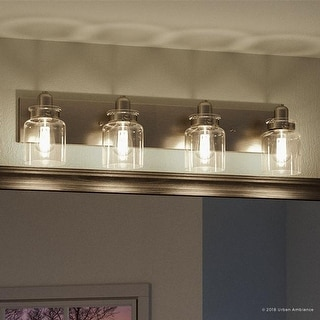 """Link to Luxury Modern Farmhouse Bathroom Vanity Light, 8.625""""H x 30.25""""W, with Industrial Style, Brushed Nickel Finish by Urban Ambiance Similar Items in Bathroom Vanity Lights"""