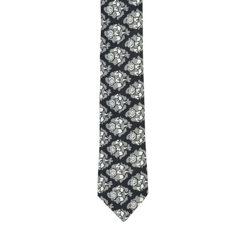 Isaia Napoli Men's Black Grey 100% Cotton Floral Pattern Classic Tie RTL$230 NWT - One Size
