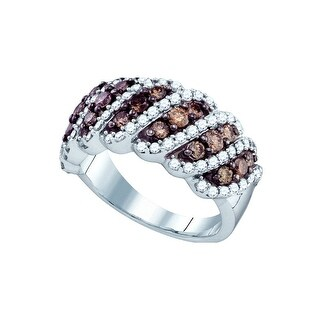 10kt White Gold Womens Round Cognac-brown Colored Diamond Striped Band Fashion Ring 1 & 1/2 Cttw - Brown