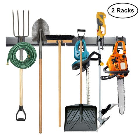 Tool Storage Rack, 8 Piece Garage Organizer, Metal, Wall Mounted, Holder for Broom, Mop, Rake Shovel & Tools