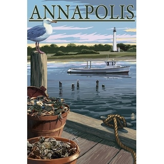Annapolis, Maryland - Blue Crab and Oysters on Dock - Lantern Press Artwork (Poker Playing Cards Deck)