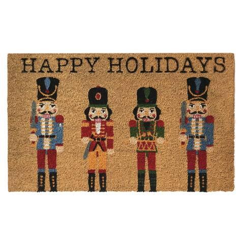 Farmhouse Living Nutcracker Happy Holidays Coir Doormat