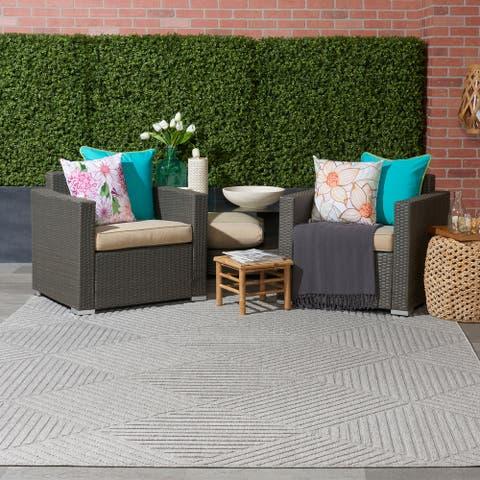 Nourison Palamos Textured Geometric Stripes Indoor/ Outdoor Area Rug