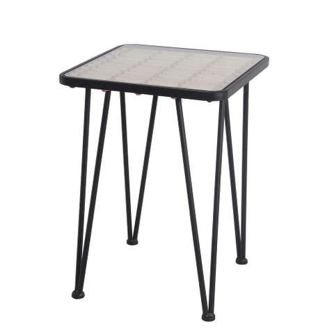 Black/Natural Metal/Glass Accent Table