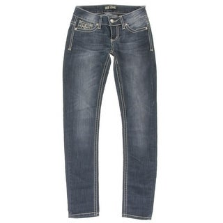 ZCO Jeans Womens Juniors Skinny Jeans Embellished Ultra-Low Rise