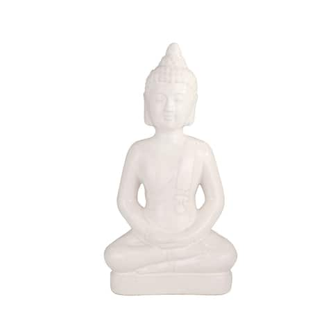 "Ceramic 17.75"" Buddha Figurine, White"