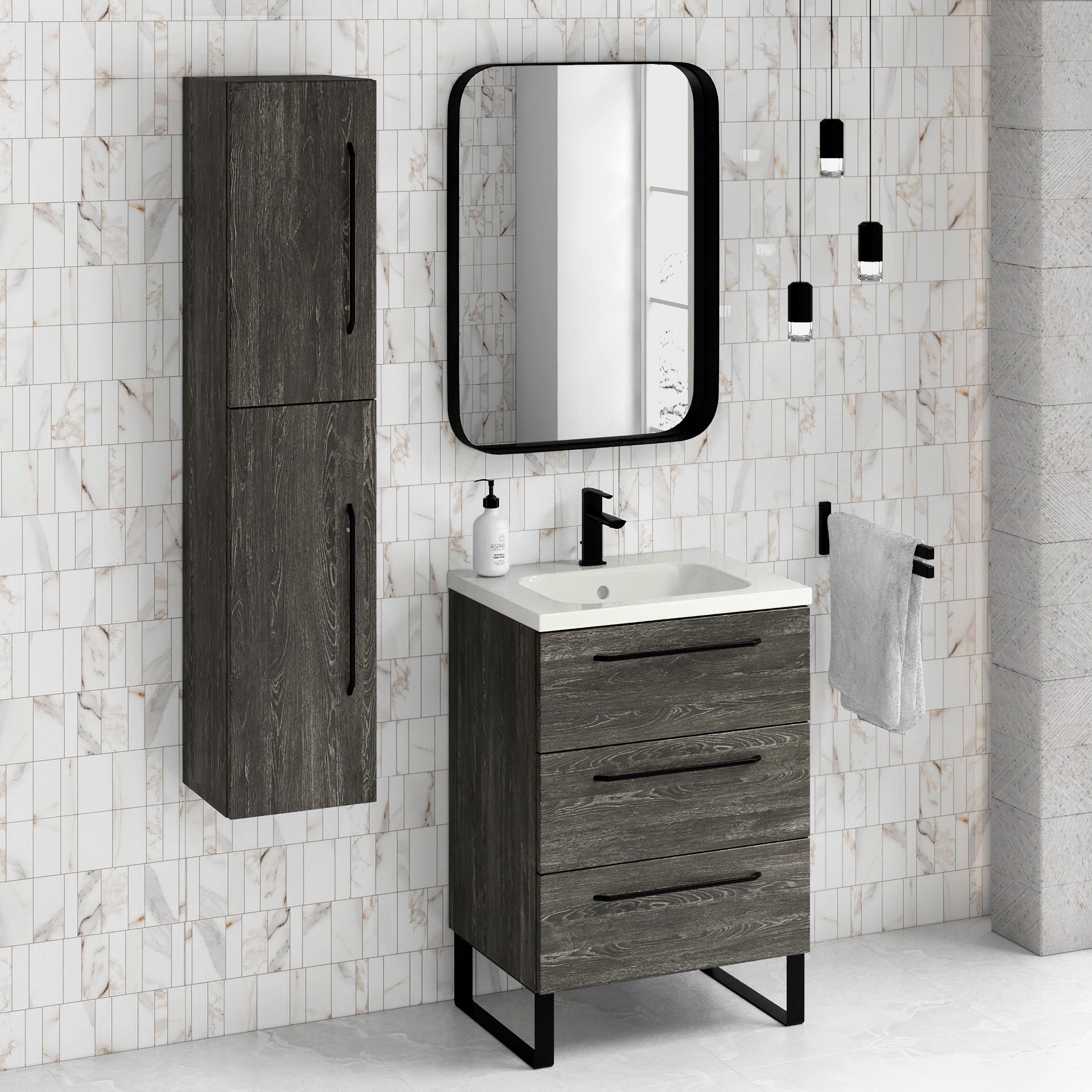 24 Bathroom Vanity Cabinet Ceramic Sink Set Denver W 24 X H 35 X D 18 In Wf446 Charred Oak On Sale Overstock 31647931