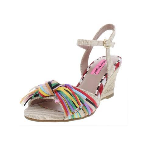 127e26ea0 Betsey Johnson Womens Lizzie Wedge Sandals Canvas Espadrille