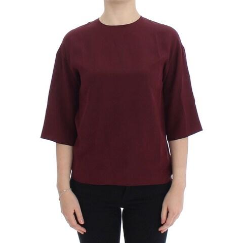 Dolce & Gabbana Red 3/4 sleeve silk blouse