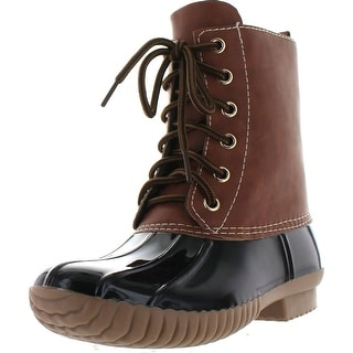 Link to Axny Dylan Women's Lace Up Two Tone Combat Style Calf Rain Duck Boots Similar Items in Women's Shoes