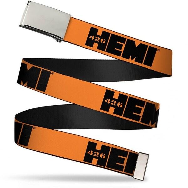 Blank Chrome Bo Buckle Hemi 426 Logo Repeat Orange Black Webbing Web Web Belt