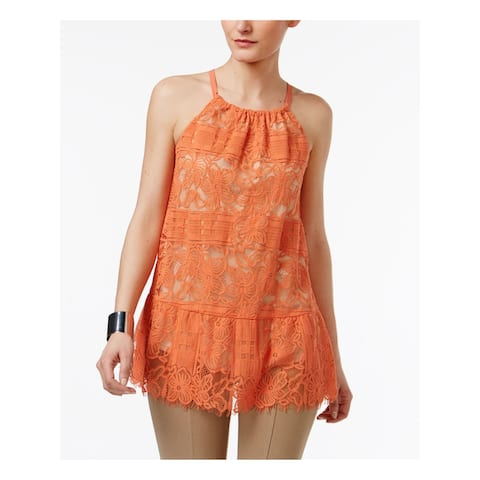 ALFANI Womens Orange Fringed Floral Sleeveless Halter Top Size 14