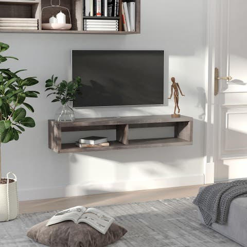 HOMCOM Wall Mounted Media Console, Floating TV Stand Component Shelf, Entertainment Center Unit, Dark Grey Wood Grain