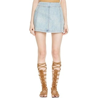 Free People Womens Denim Skirt A-Line Light Wash
