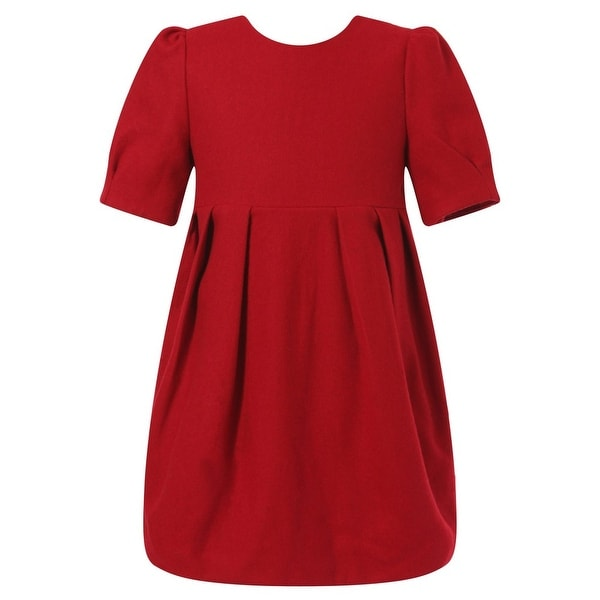 Richie House Baby Girls Red Pleat Details Elegant Dress 24M