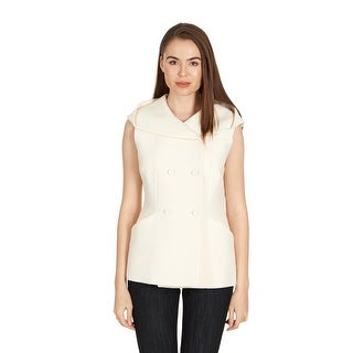 Dior Womens Ivory Double Breasted Hooded Button Vest - 10