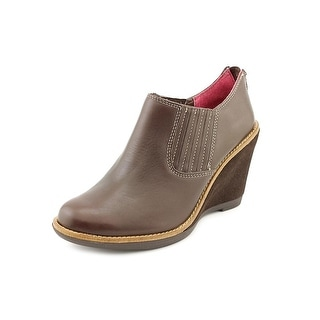 Hush Puppies Cignet Wedge ST Women Open Toe Leather Brown Wedge Heel