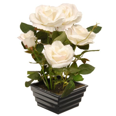 """11"""" Potted White Rose Flowers"""