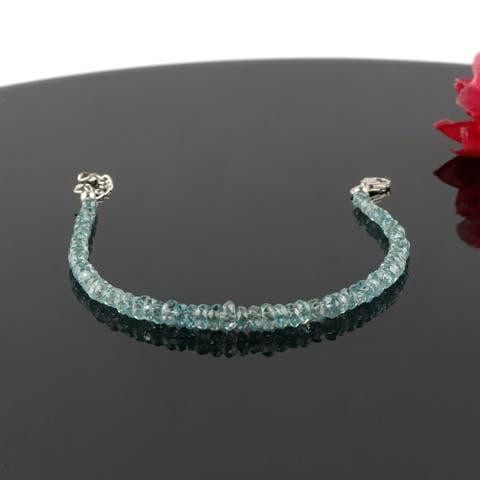 Natural Blue Zircon Gemstone beaded bracelet Sterling Sliver